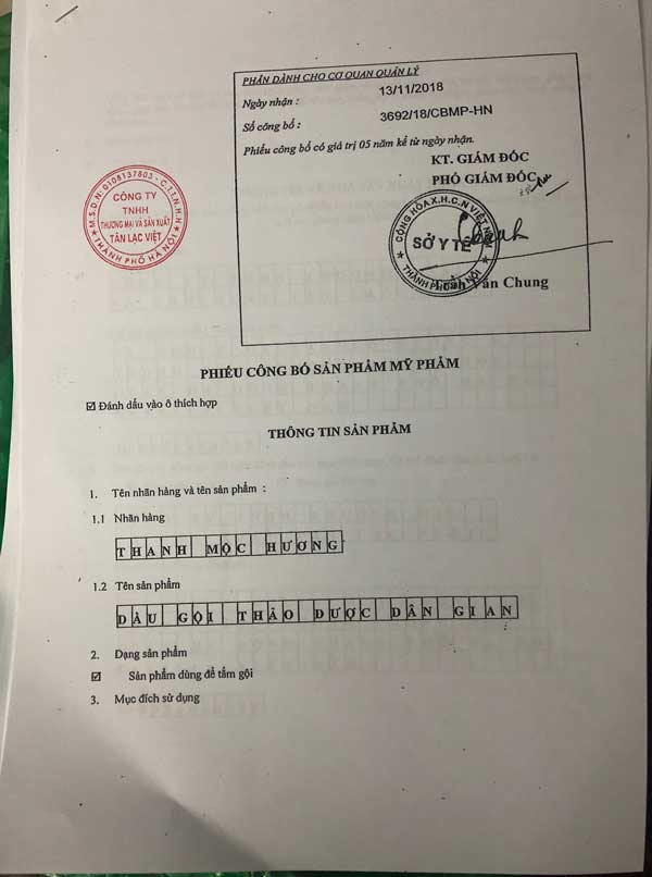 giấy công bố sản phẩm Dầu gội Thảo Dược Thanh Mộc Hương