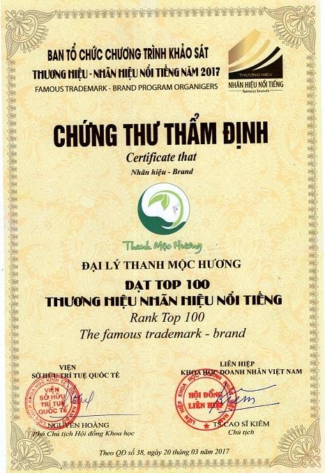 Chứng nhận thanh mộc hương đạt top 100 thương hiệu nổi tiếng